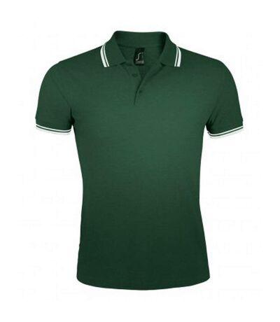 SOLS Mens Pasadena Tipped Short Sleeve Pique Polo Shirt (Forest/White) - UTPC2431