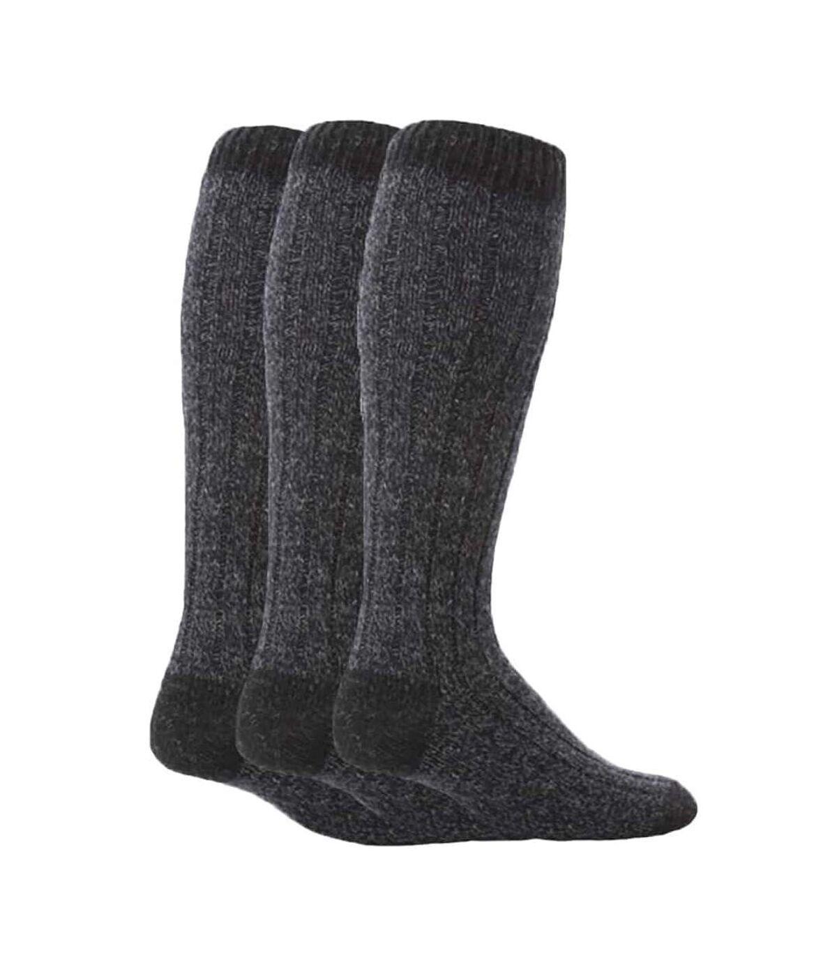 3 Pk Mens Extra Long Knee High Wool Boot Socks