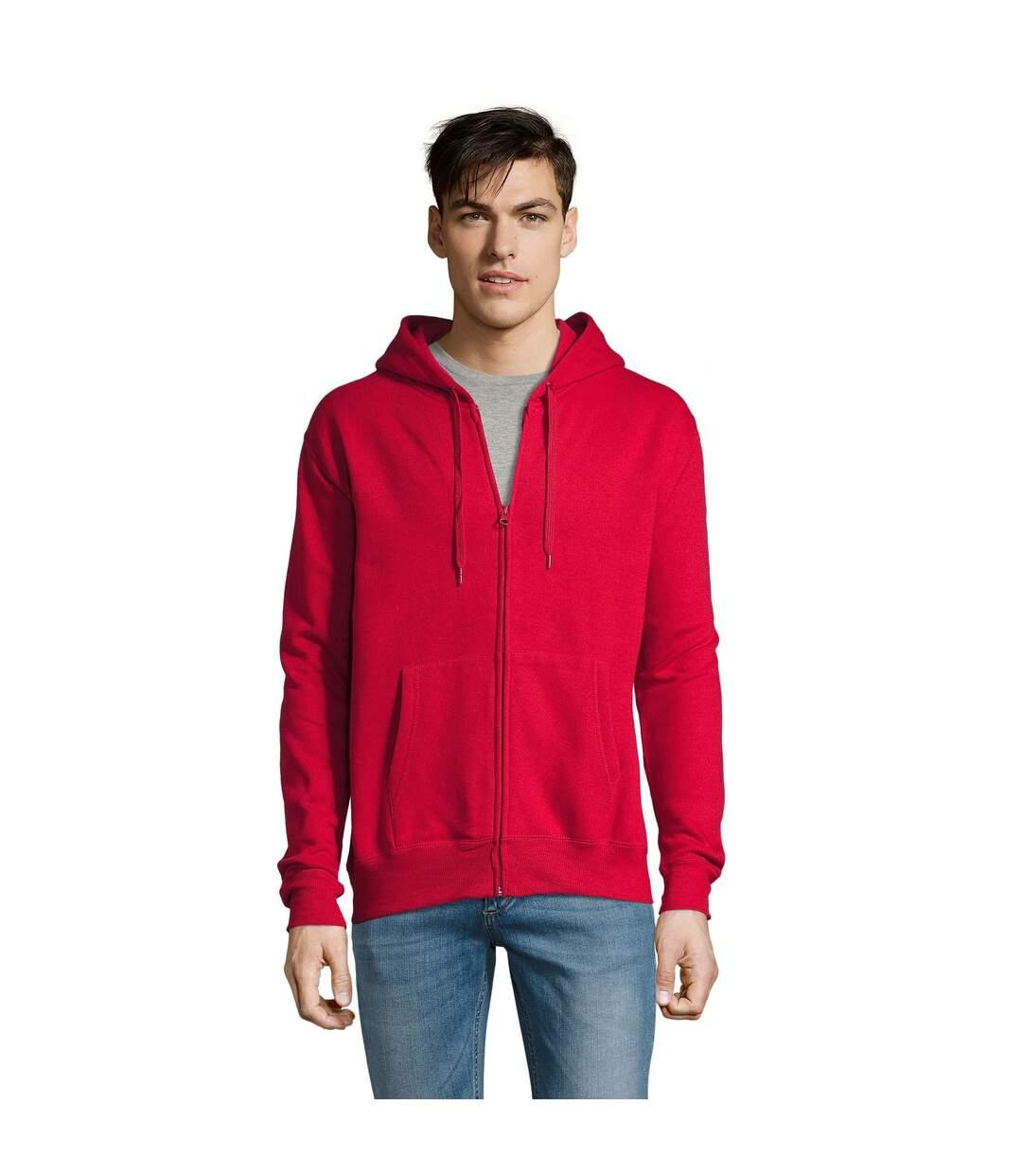 SOLS Mens Seven Full Zip Hooded Sweatshirt / Hoodie (Red) - UTPC340