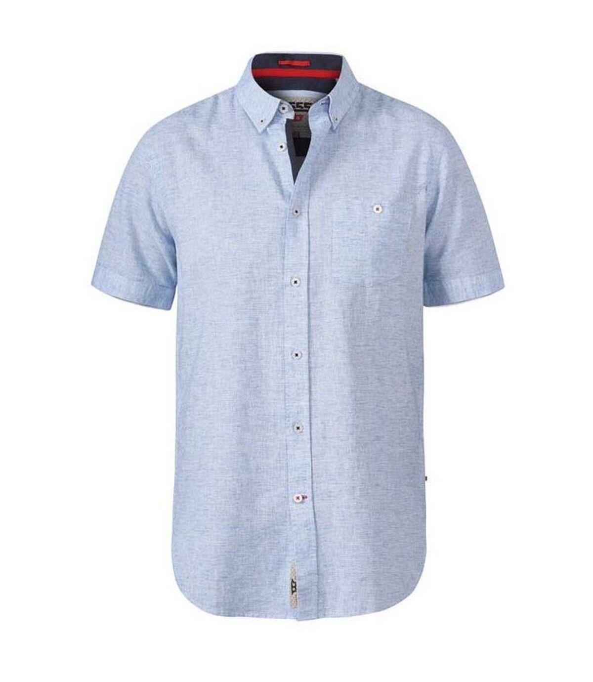 Duke Mens Reid D555 Linen Short Sleeve Shirt (Sky Blue) - UTDC267