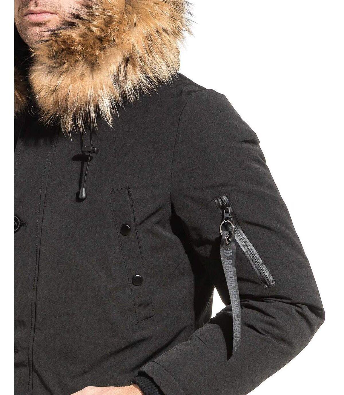 Parka homme longue chic noire capuche fourrure