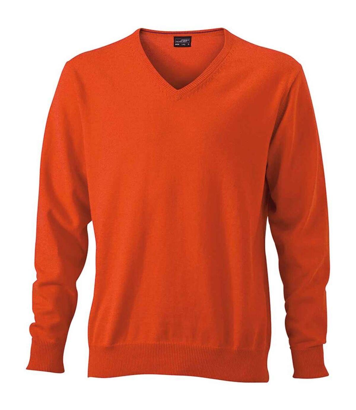 Pull classique col V - HOMME - JN659 - orange foncé