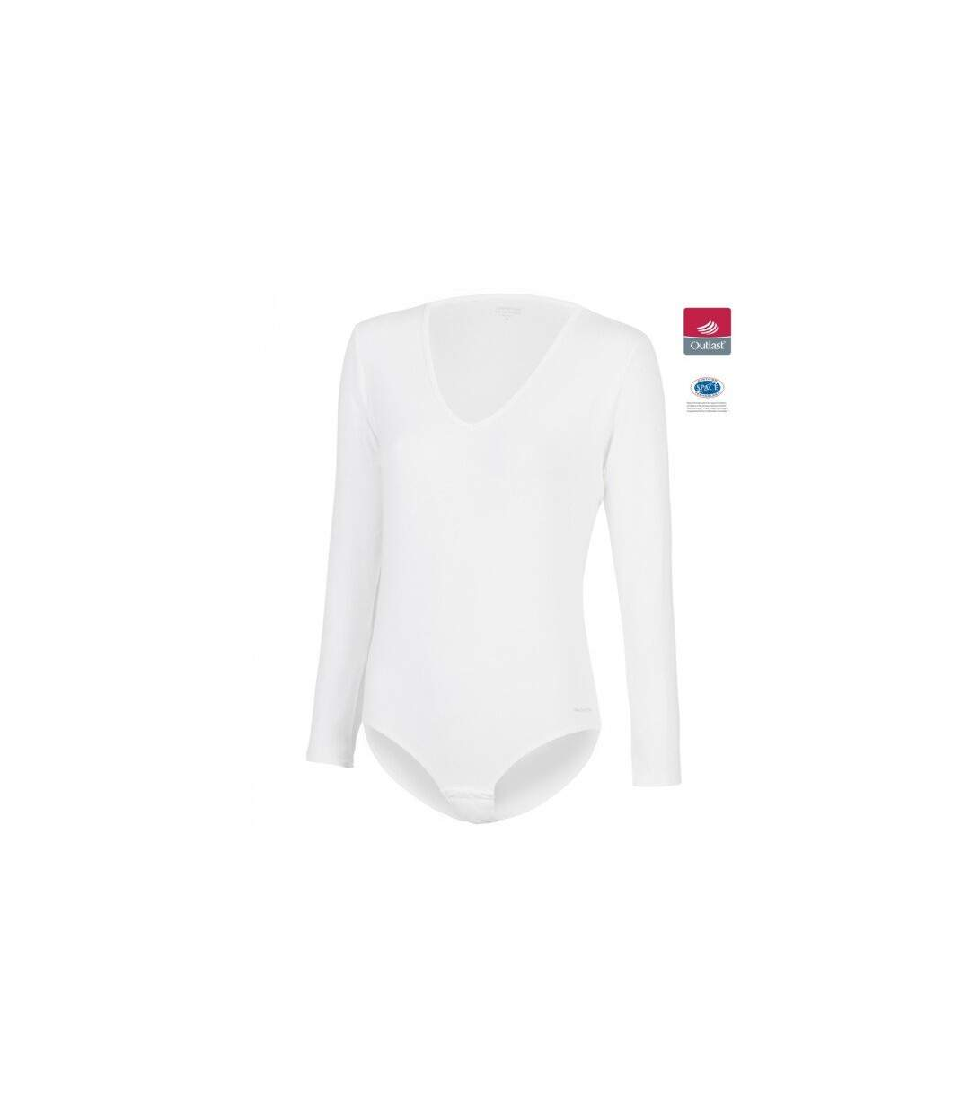 IMPETUS Body Manches longues Col V Femme Coton Viscose INNOVATION Blanc