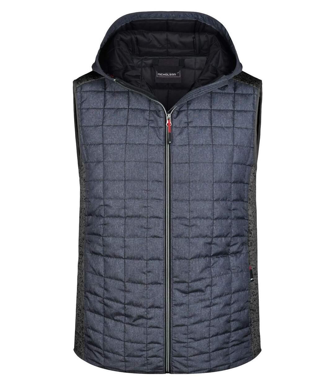 Veste tricot matelassée sans manches - homme - JN768 - gris foncé et anthracite