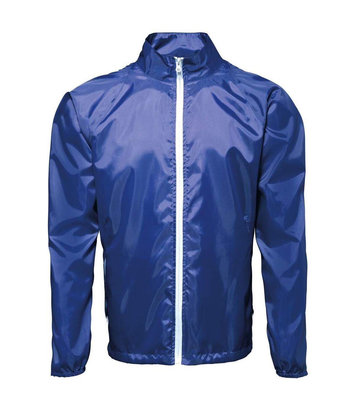 2786 Mens Contrast Lightweight Windcheater Shower Proof Jacket (Pack of 2) (Royal/ White) - UTRW7001