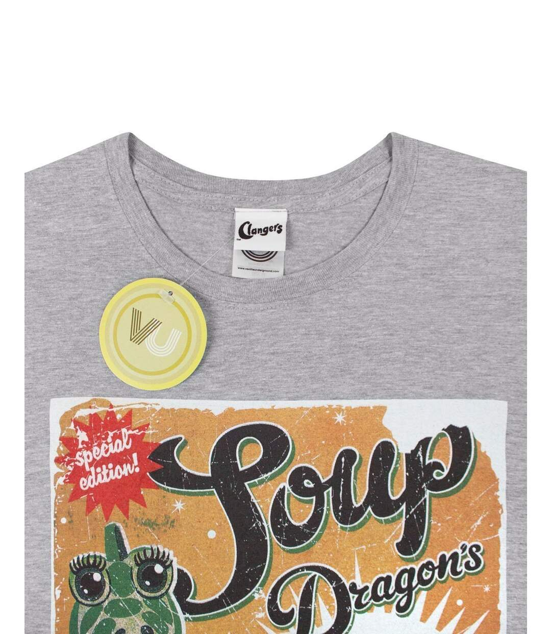 Clangers Mens Soup Dragons Green Soup T-Shirt (Grey) - UTNS4404
