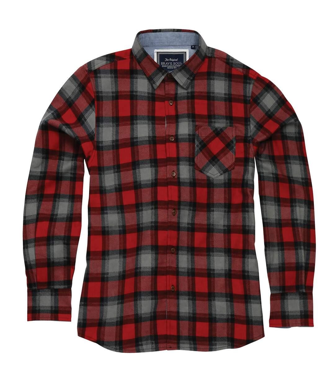 Brave Soul Mens Garvey Long Sleeve Check Shirt (Red/Black/Grey) - UTRW5001