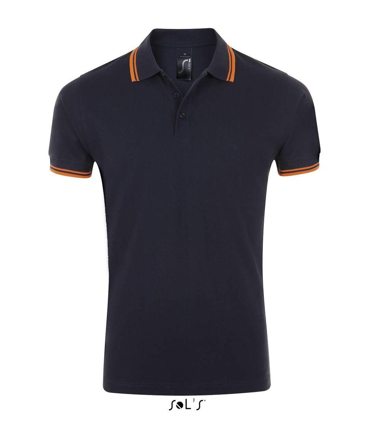 Polo homme coton - 00577 - bleu marine et bande orange