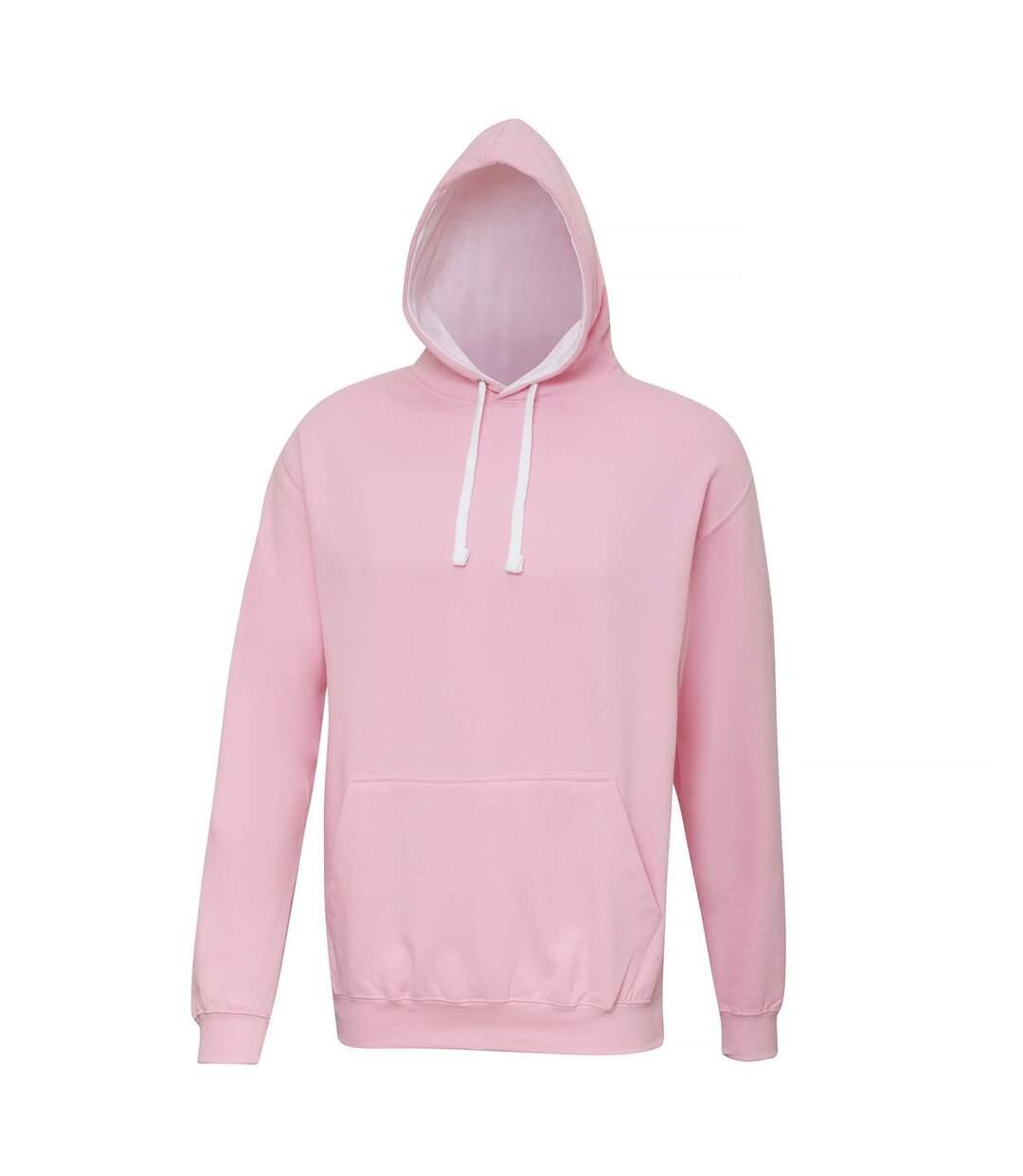 Sweat à capuche contrastée unisexe - JH003 - rose clair et blanc