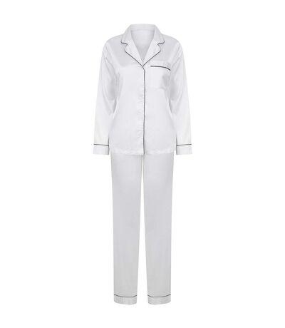 Towel City Womens/Ladies Satin Long PJ Set (White) - UTPC4071