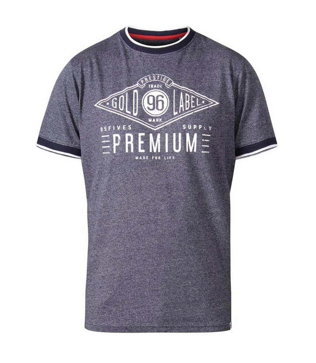 Duke Mens Alister D555 Premium Ringer T-Shirt (Navy) - UTDC284