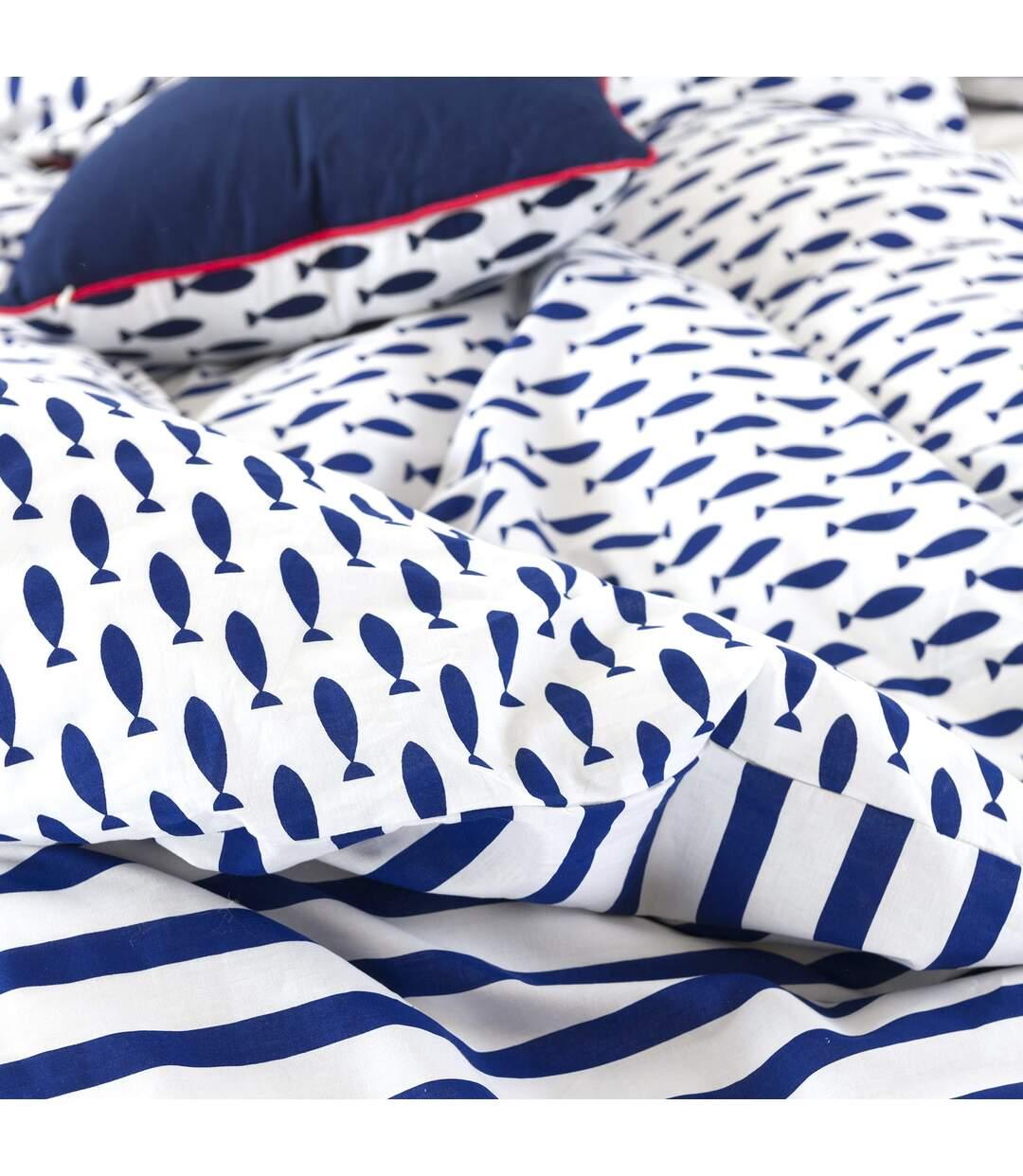 Parure de lit 240x220 cm 100% coton bio FISHY Bleu 3 pièces