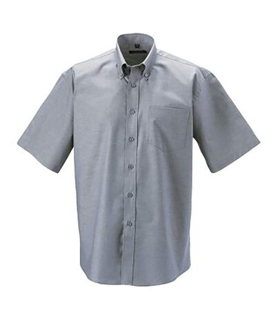 Russell Collection Mens Short Sleeve Easy Care Oxford Shirt (Silver Grey) - UTBC1025