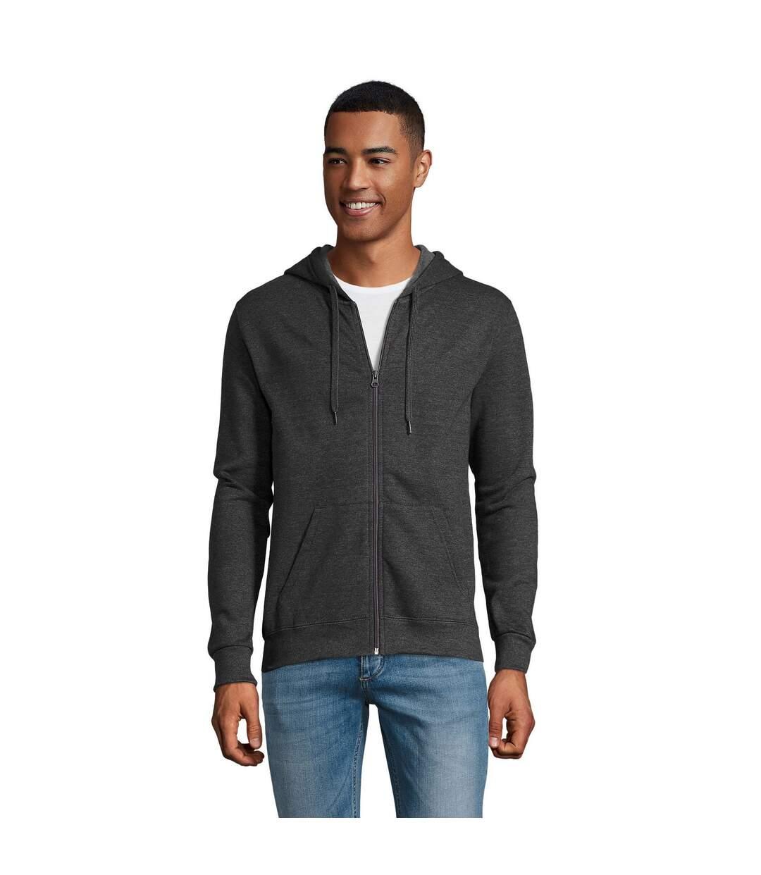 SOLS Mens Stone Zip Up Plain Hoodie (Black) - UTPC2784