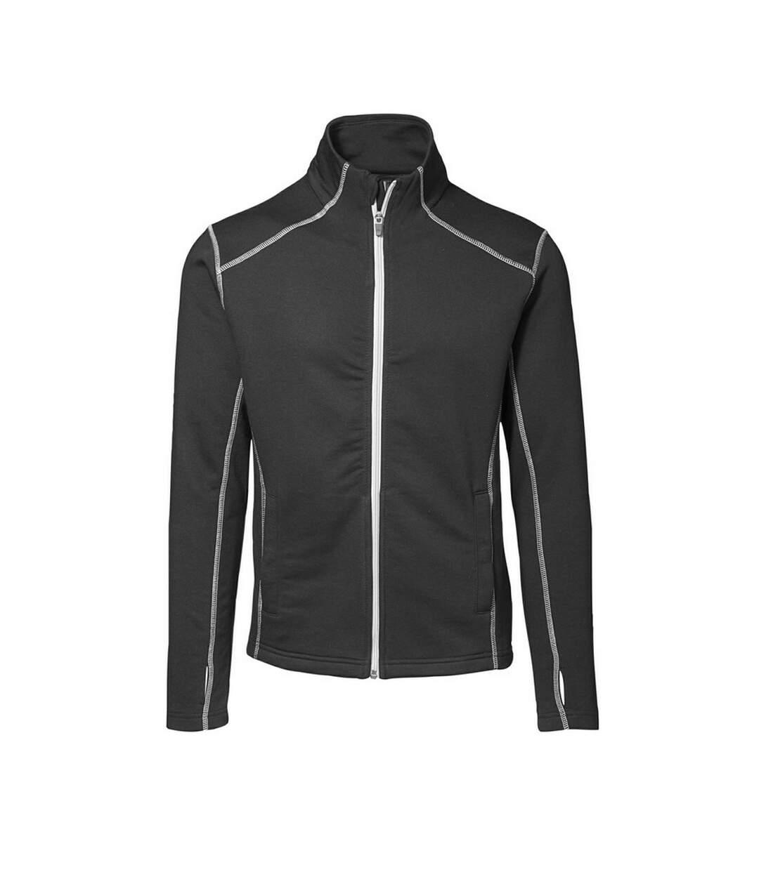 ID Mens Full Zip Fitted Sweatshirt With Contrast Trim (Black) - UTID237