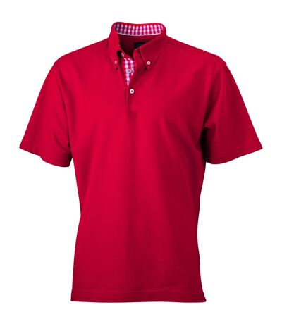 Polo inserts vichy HOMME JN964 - rouge col rouge-blanc