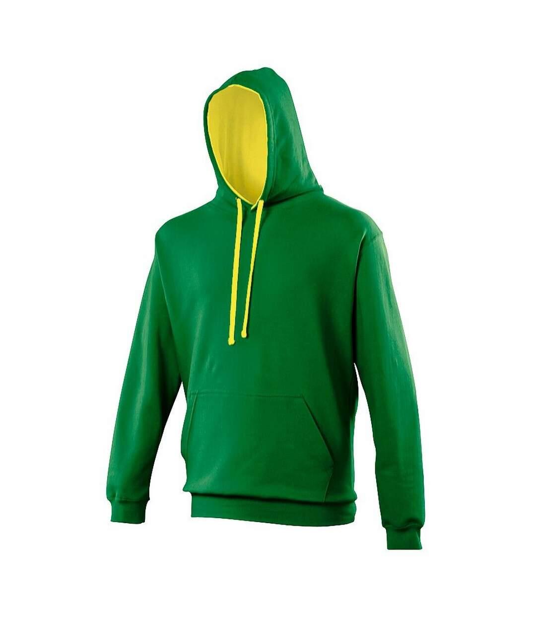 Awdis Varsity Hooded Sweatshirt / Hoodie (Kelly Green / Sun Yellow) - UTRW165