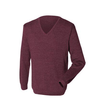 Henbury Mens 12 Gauge Fine Knit V-Neck Jumper / Sweatshirt (Burgundy) - UTRW659