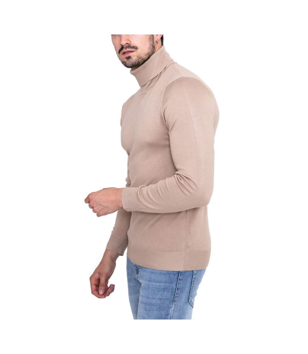 Pull col roulé homme Pull M014 beige