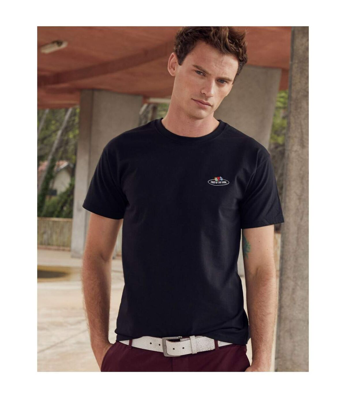 Fruit of the Loom Mens Vintage Logo T-Shirt (Black) - UTBC4818