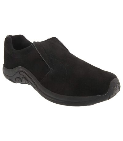 PDQ Adults Unisex Real Suede Ryno Slip-On Casual Trainers (Black) - UTDF140