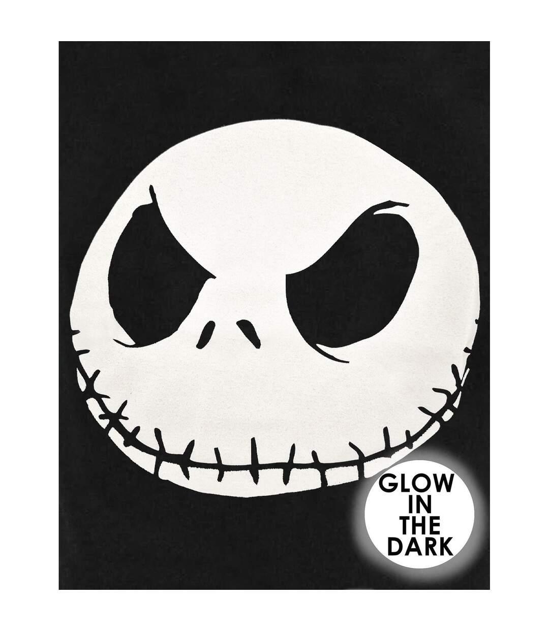 Nightmare Before Christmas Mens Glow In The Dark Jack Skellington Face T-Shirt (Black) - UTNS5670