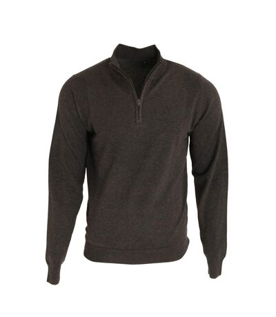 Premier Mens 1/4 Zip Neck Knitted Sweater (Charcoal) - UTRW5590