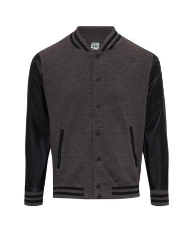AWDis Hoods Mens Letterman Jacket (Charcoal/Jet Black) - UTRW6022