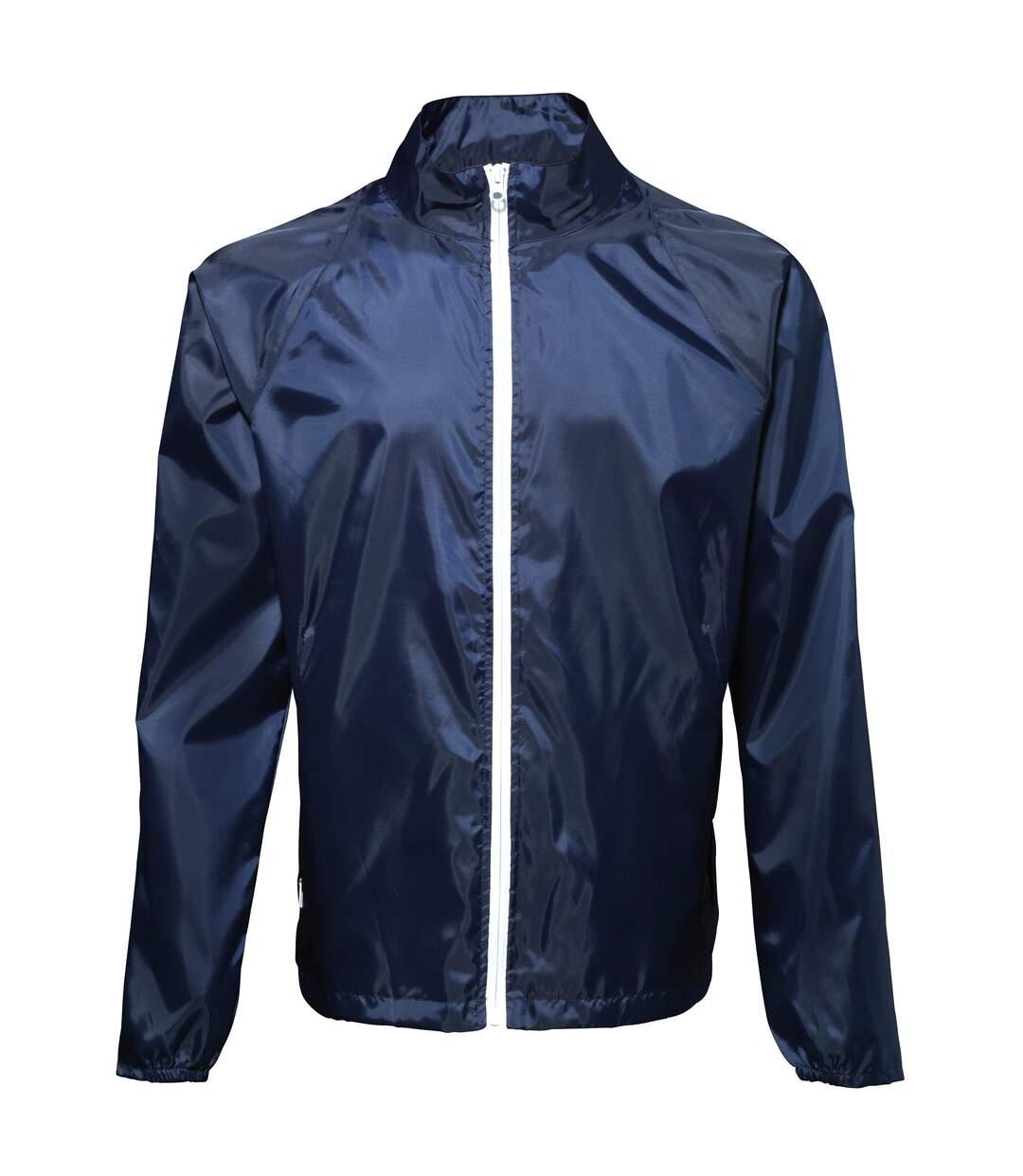 2786 Mens Contrast Lightweight Windcheater Shower Proof Jacket (Sapphire/ White) - UTRW2501