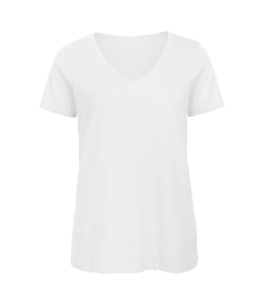B&C Favourite - T-Shirt En Coton Bio À  Col V - Femme (Blanc) - UTBC3642