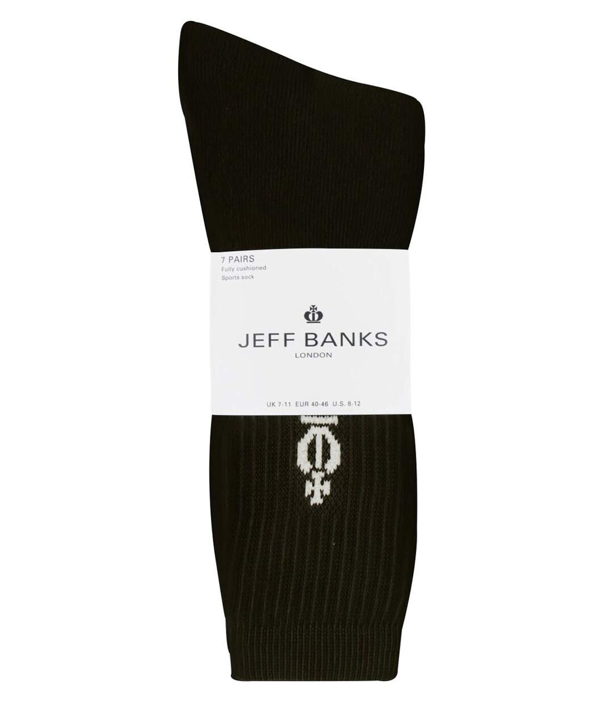 Jeff Banks - 7 Pk Mens Cotton Ribbed Sport Socks