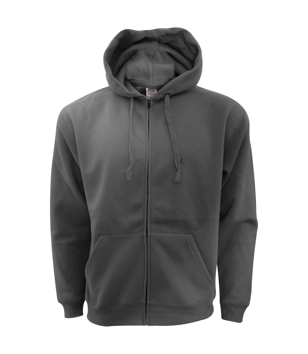 Fruit Of The Loom Mens Zip Through Hooded Sweatshirt / Hoodie (Black) - UTBC360