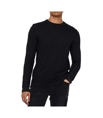 Pull noir homme Only&Sons Pelle 12 Washed Struc Crew