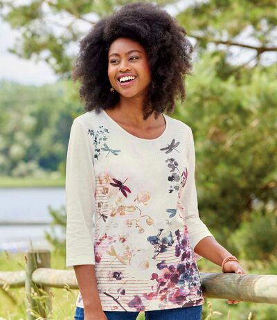 Women's Dragonfly Motif T-Shirt with Three-Quarter Sleeves