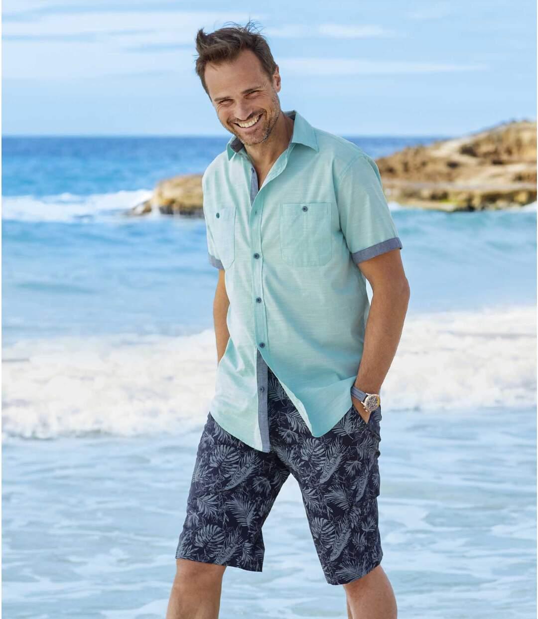 Men's Canvas Cargo Shorts - Blue Exotic Print