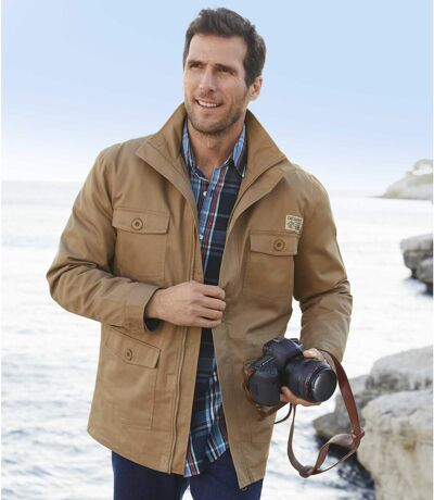 Men's Full Zip Camel Safari Jacket