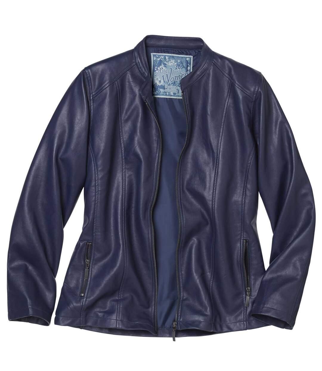 Women's Blue Faux Leather Jacket