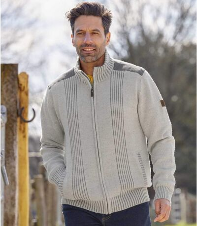 Men's Full-Zip Knitted Jacket - Mottled Grey