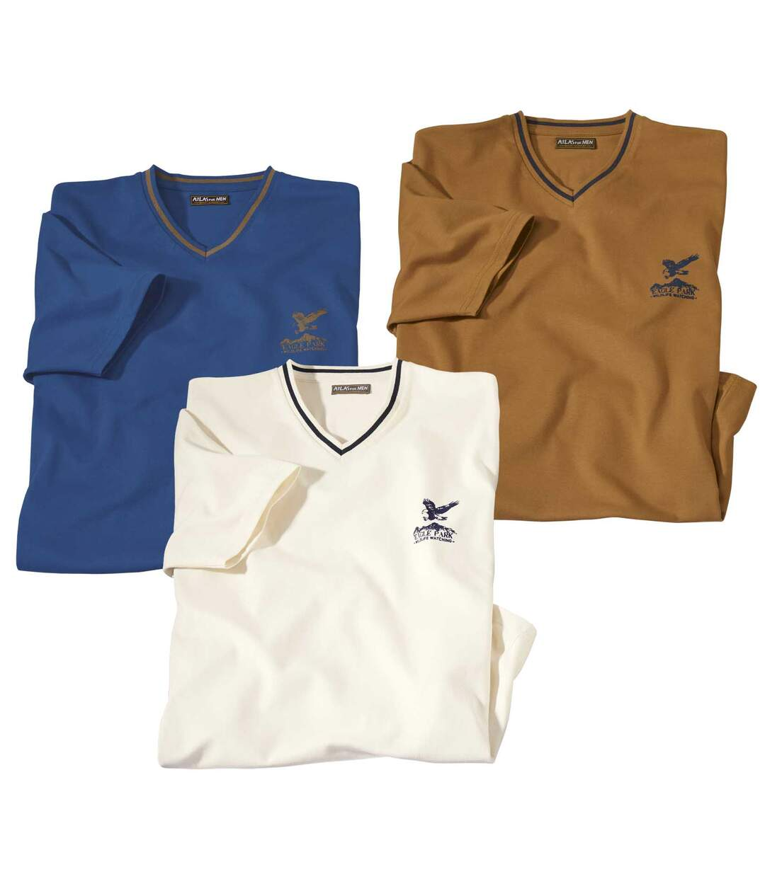 Set van 3 Outdoor T-shirts met V-hals