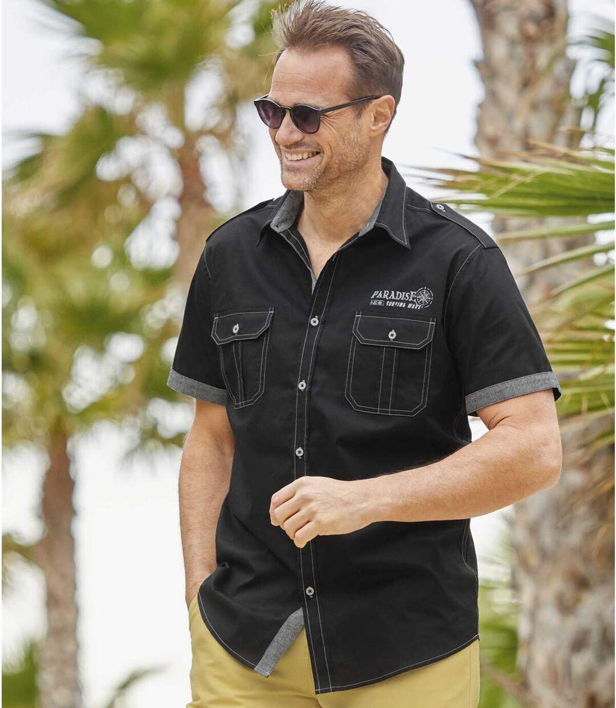 Men's Black Aviator-Style Shirt - Short-Sleeved Atlas For Men