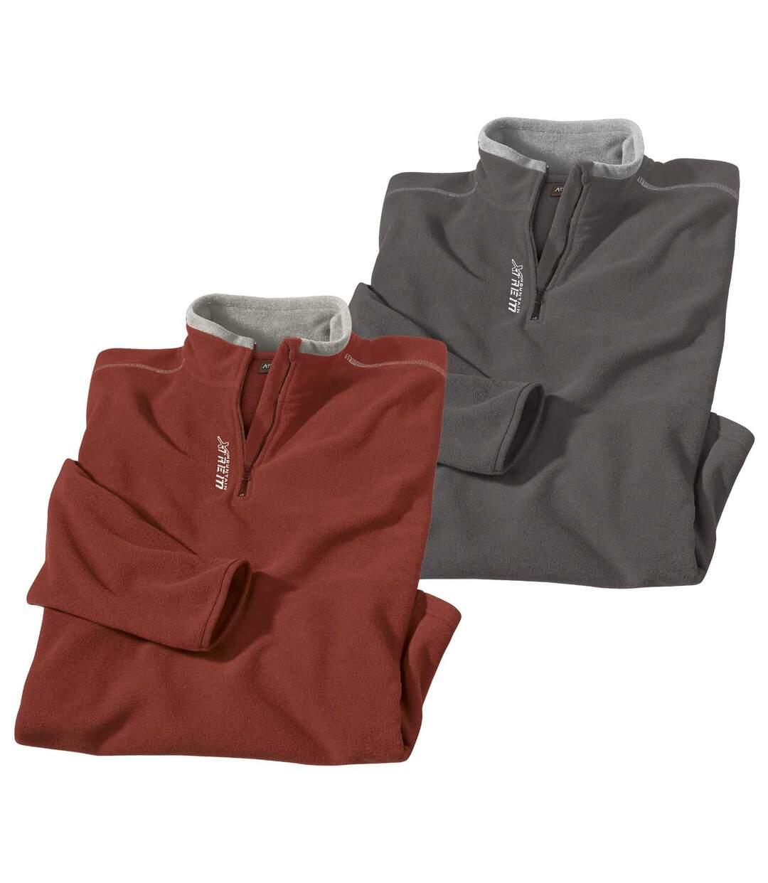 Pack of 2 Half Zip Microfleece Pullovers - Red, Grey
