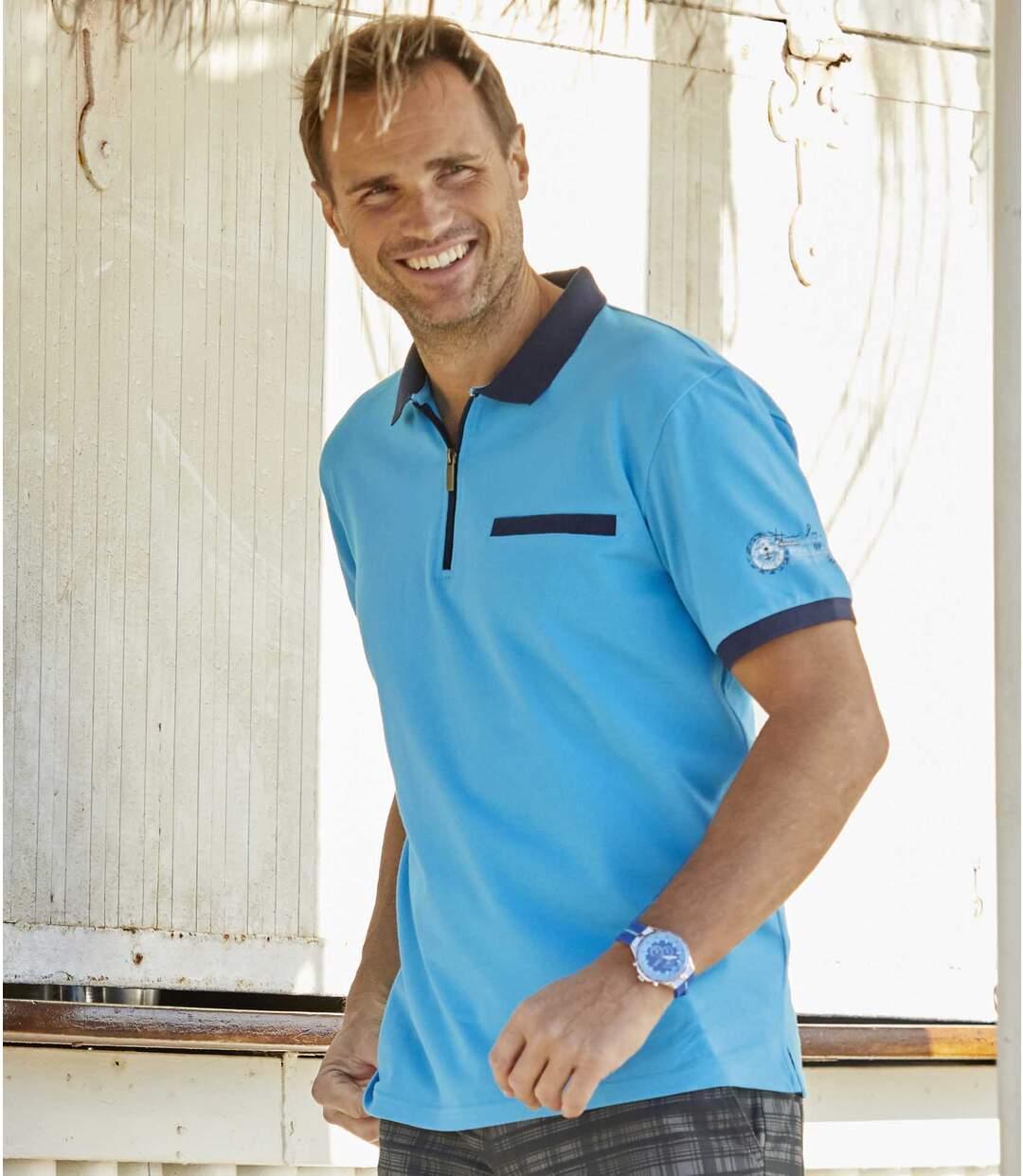 Polo tričko Hawaï Tropical se zapínáním na zip Atlas For Men