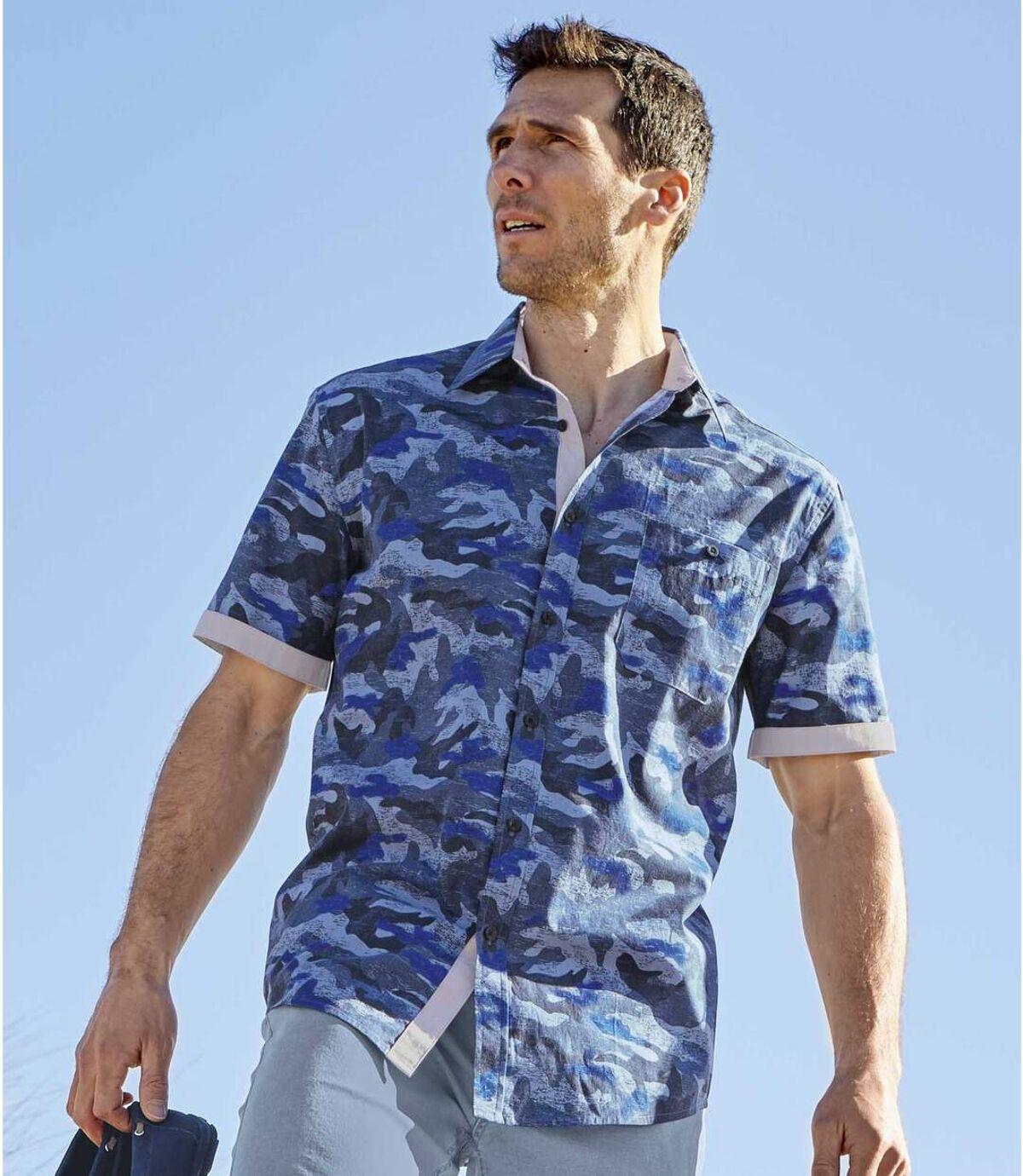 Camouflage-overhemd van popeline Atlas For Men