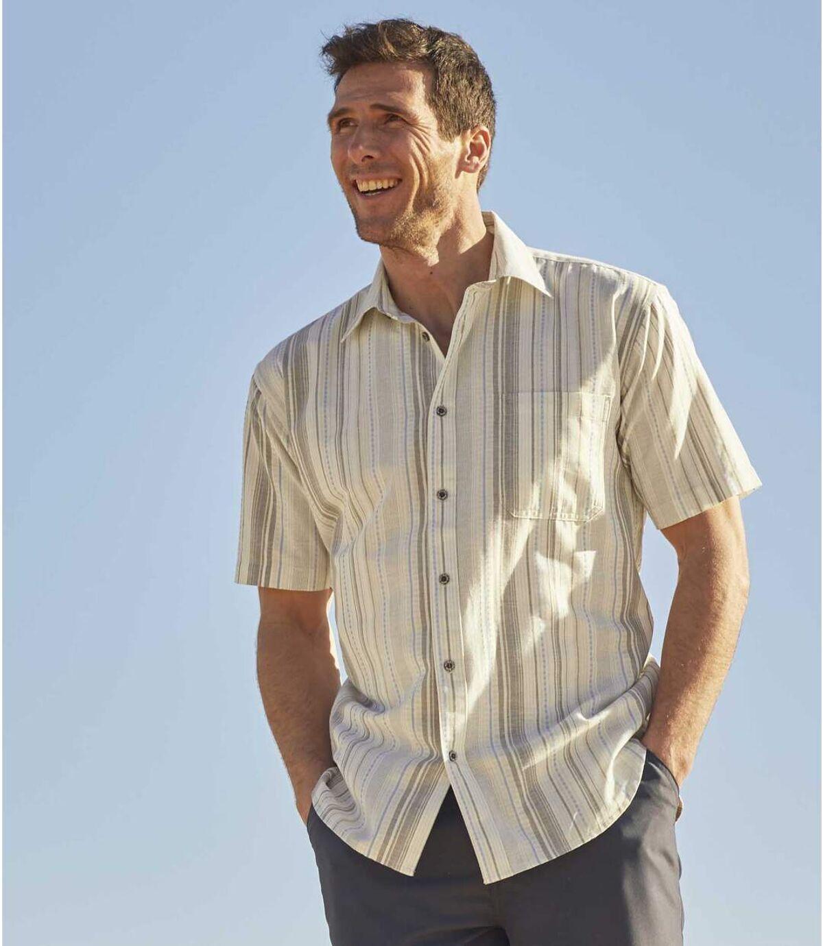Kurzärmeliges Hemd aus Leinen und Baumwolle Atlas For Men