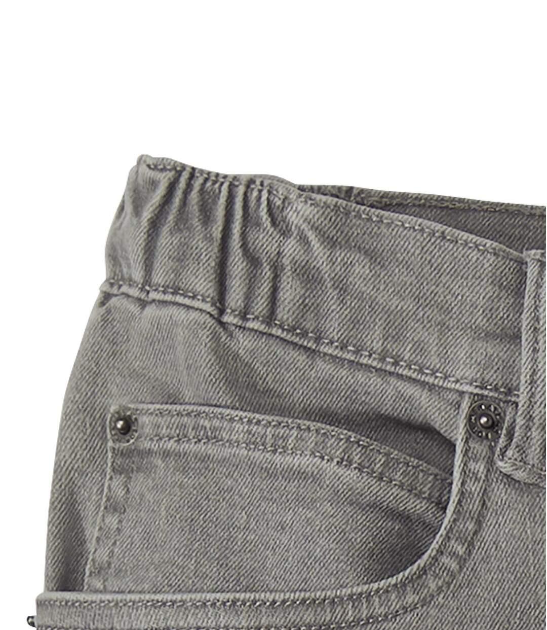 Graue Stretch-Jeans mit teilelastischem Bund
