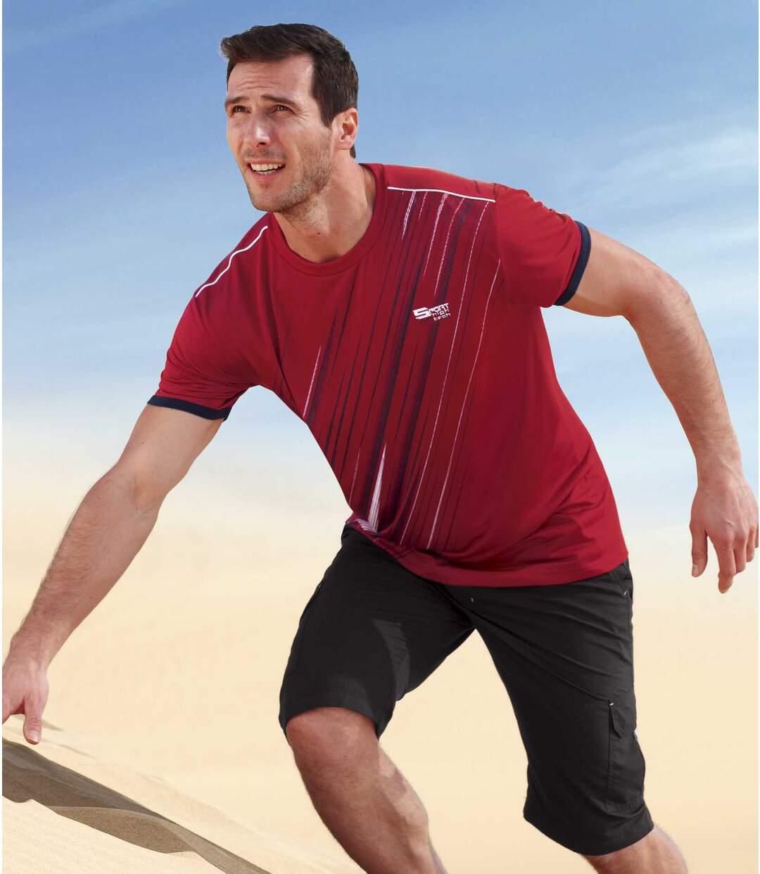 Pack of 3 Men's Summer Sport T-Shirts - White Red Black