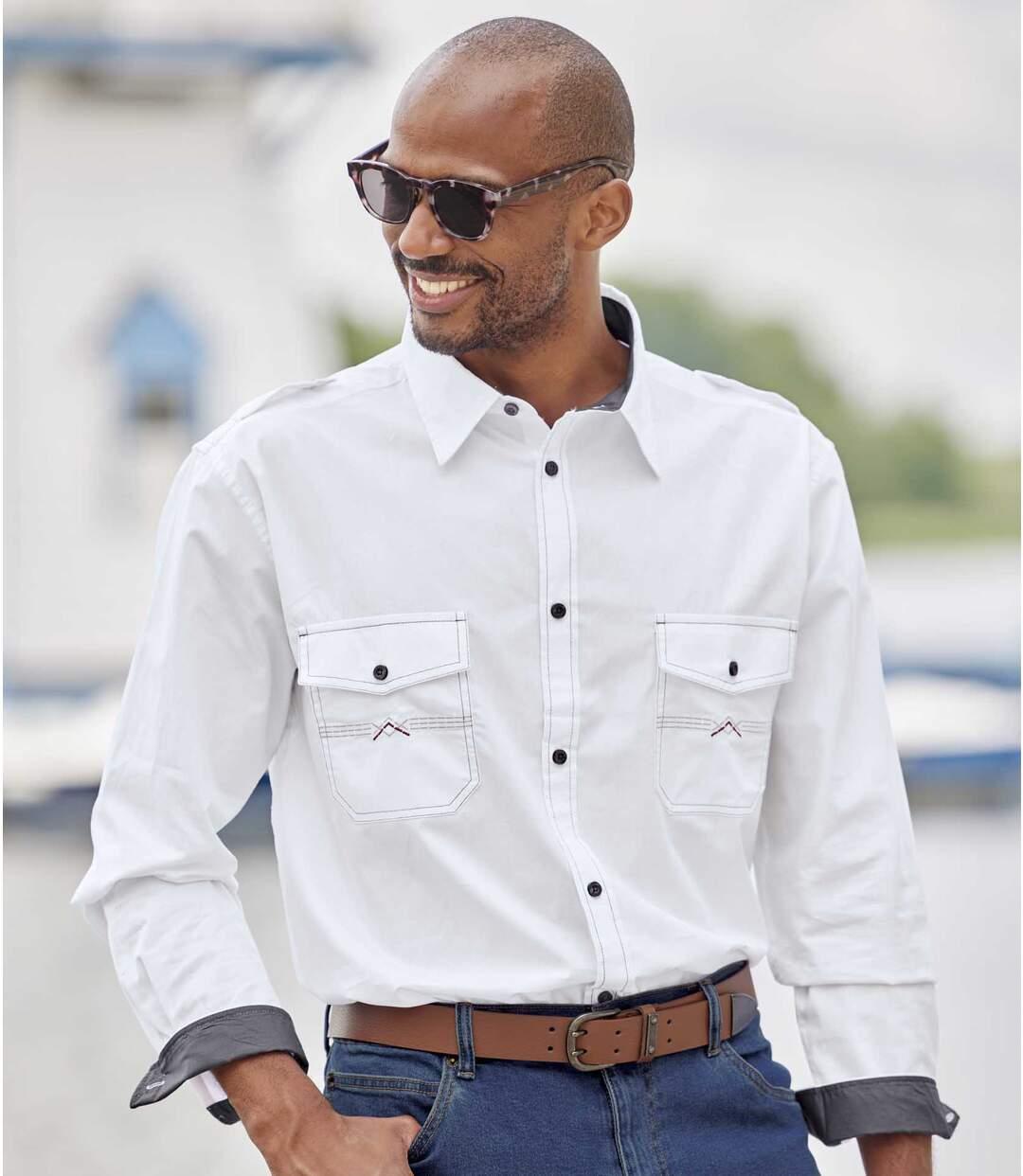 Men's White Aviator Long Sleeve Shirt Atlas For Men