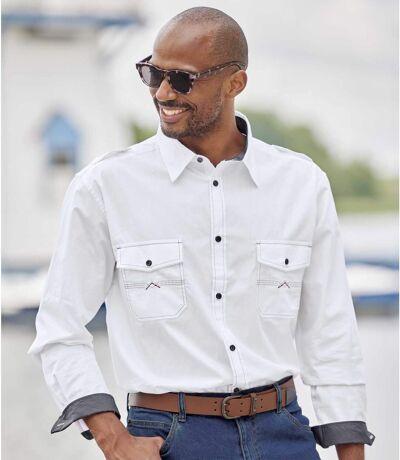 Men's White Aviator Long Sleeve Shirt