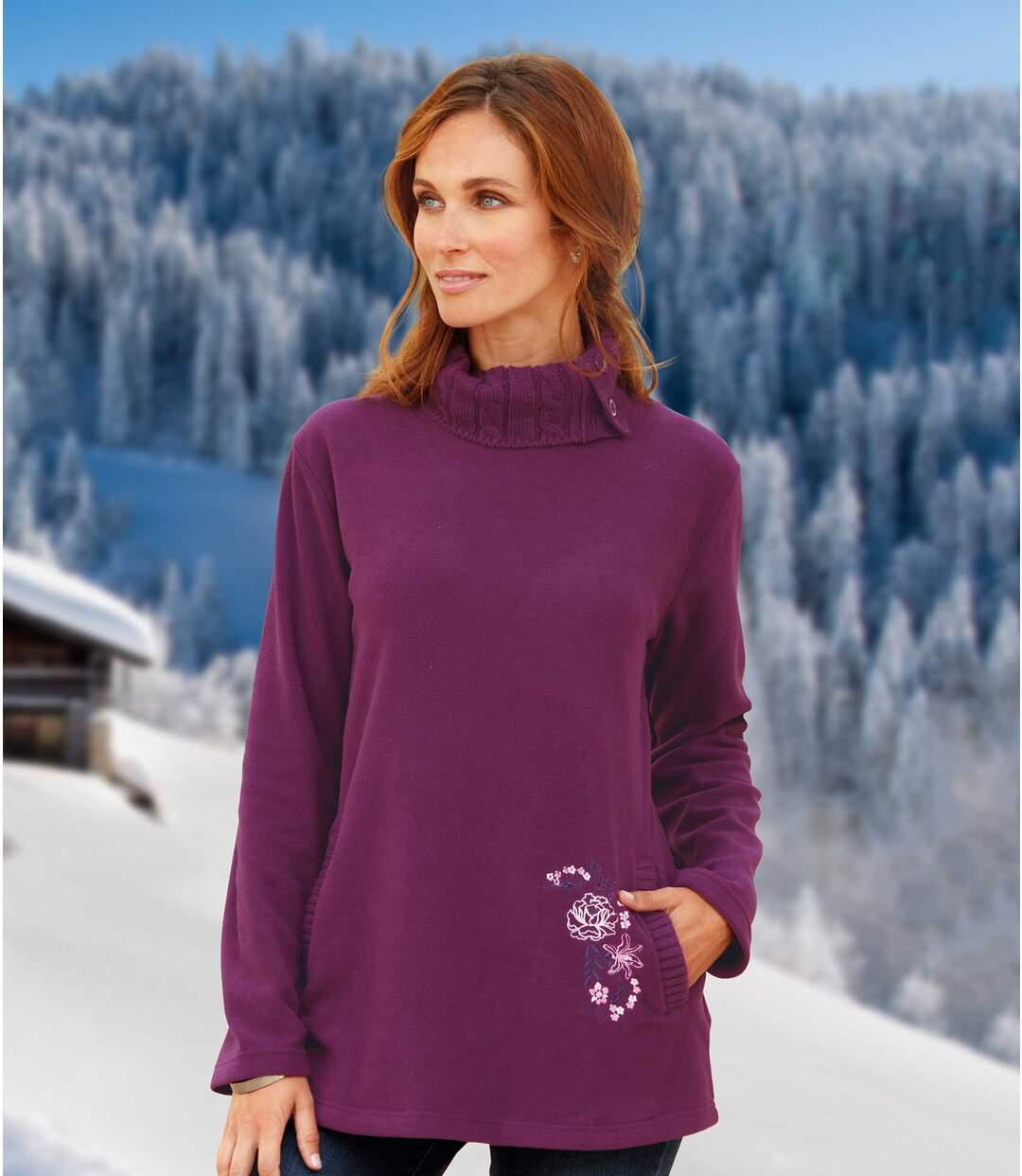 Tunika-Pullover aus Microfleece