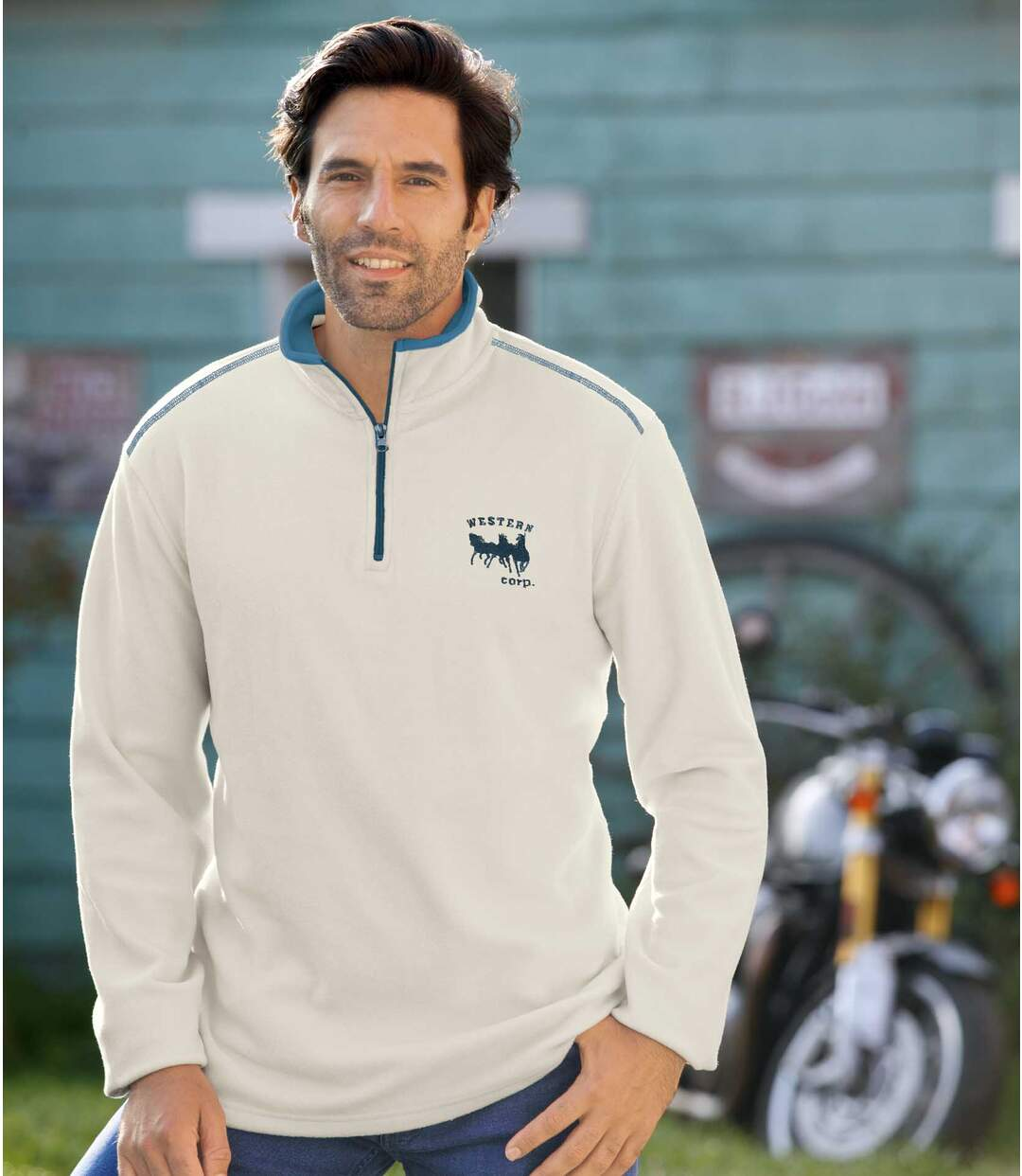 Pack of 2 Men's Half Zip Microfleece Jumpers - Cream Turquoise